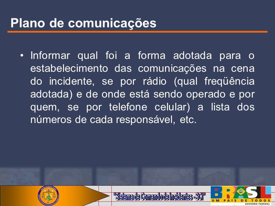 Plano de comunicações Informar qual foi a forma adotada para o estabelecimento das comunicações na cena do incidente, se por rádio (qual freqüência ad