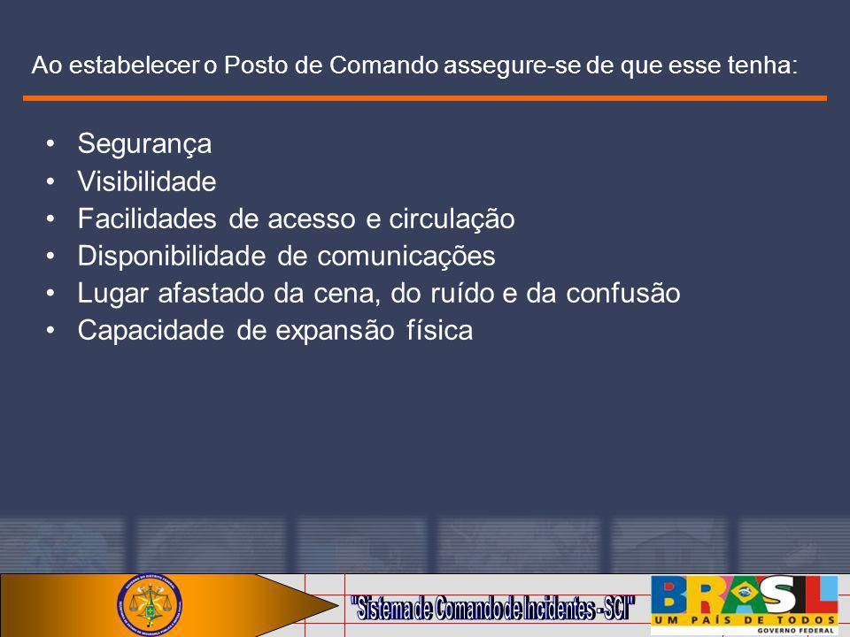 Ao estabelecer o Posto de Comando assegure-se de que esse tenha: Segurança Visibilidade Facilidades de acesso e circulação Disponibilidade de comunica