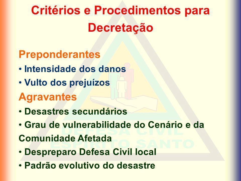 Critérios e Procedimentos para Decretação Preponderantes Intensidade dos danos Vulto dos prejuízos Agravantes Desastres secundários Grau de vulnerabil