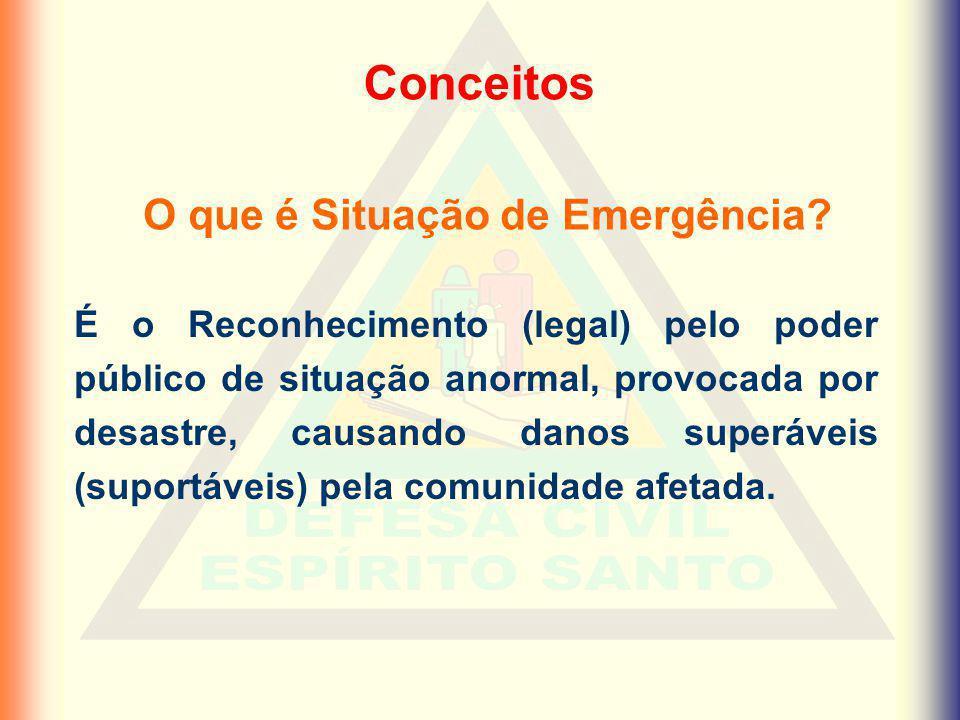 Conceitos É o Reconhecimento (legal) pelo poder público de situação anormal, provocada por desastre, causando danos superáveis (suportáveis) pela comu