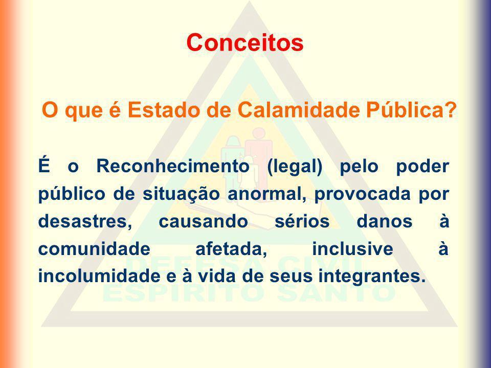 Fases e competências DECLARAÇÃO – Prefeito Municipal HOMOLOGAÇÃO – Governador do Estado RECONHECIMENTO – Ministro da Integração