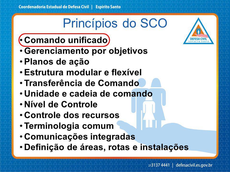 Comando unificado Gerenciamento por objetivos Planos de ação Estrutura modular e flexível Transferência de Comando Unidade e cadeia de comando Nível d