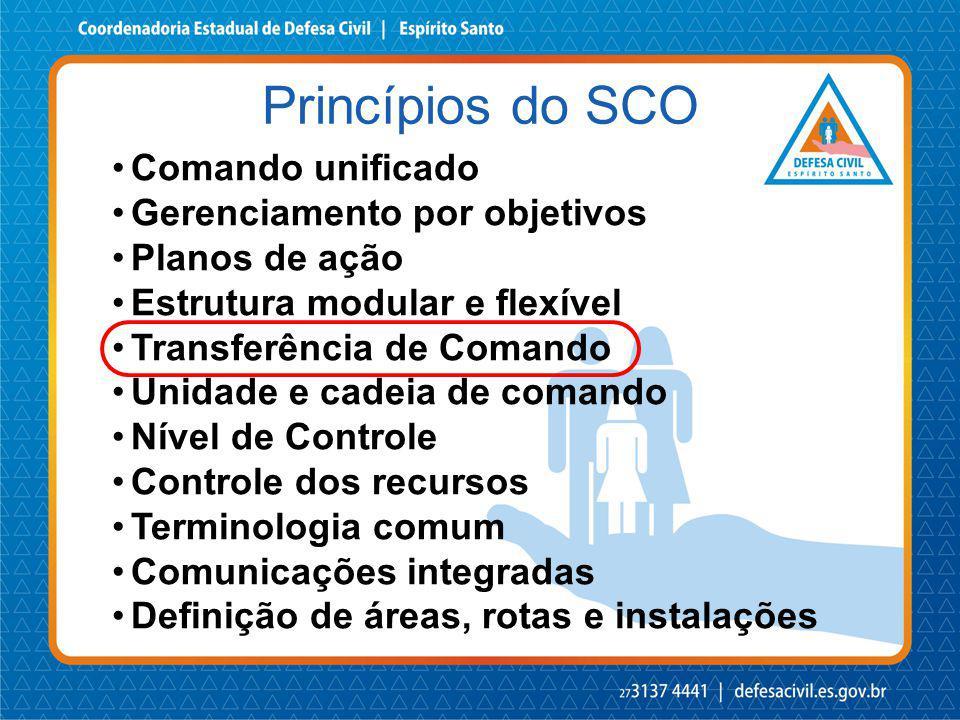 Princípios do SCO Comando unificado Gerenciamento por objetivos Planos de ação Estrutura modular e flexível Transferência de Comando Unidade e cadeia