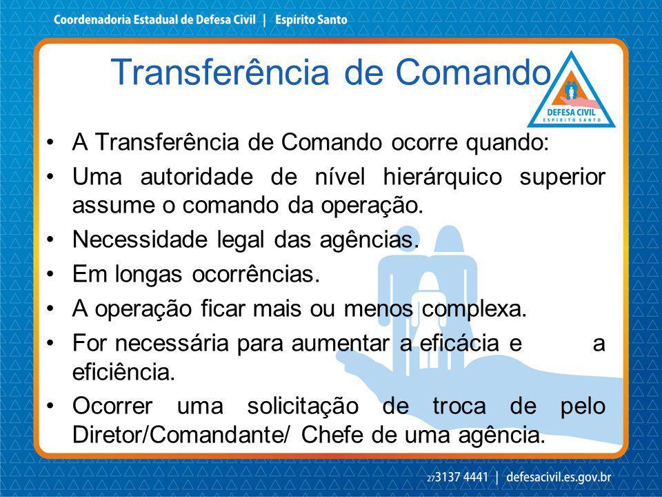 A Transferência de Comando ocorre quando: Uma autoridade de nível hierárquico superior assume o comando da operação. Necessidade legal das agências. E