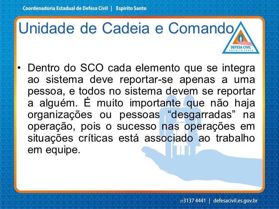 Dentro do SCO cada elemento que se integra ao sistema deve reportar-se apenas a uma pessoa, e todos no sistema devem se reportar a alguém. É muito imp