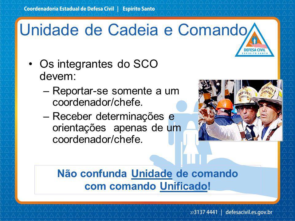 Os integrantes do SCO devem: –Reportar-se somente a um coordenador/chefe. –Receber determinações e orientações apenas de um coordenador/chefe. Não con