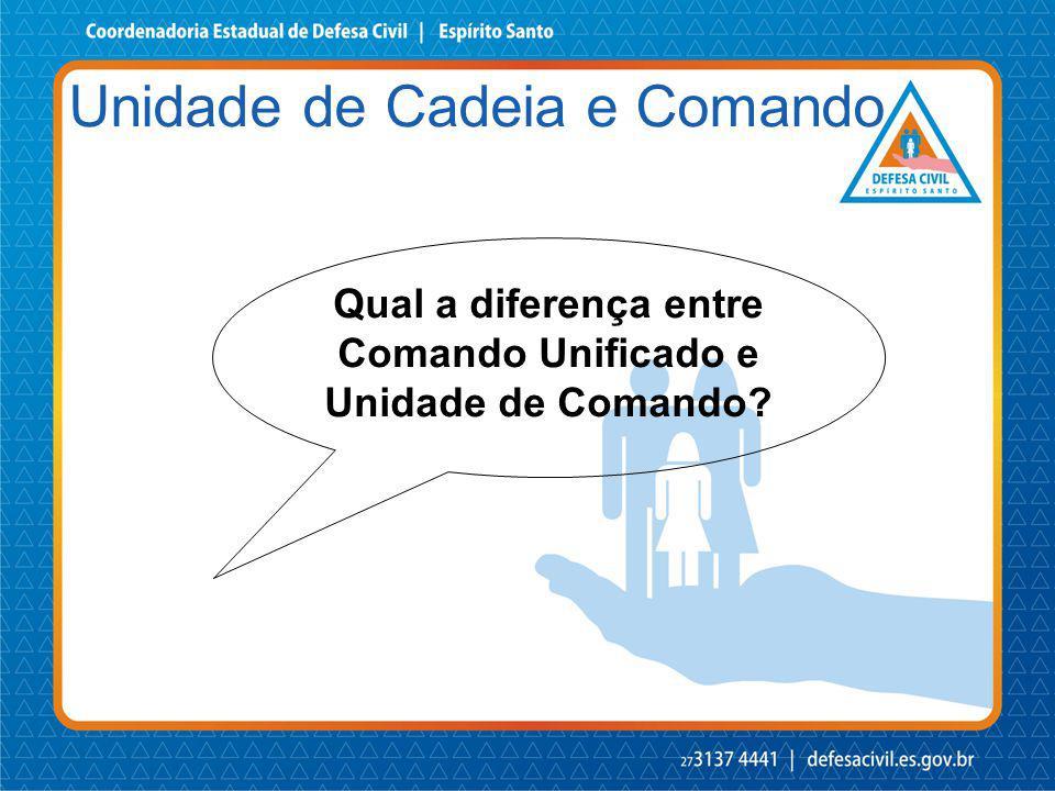 Qual a diferença entre Comando Unificado e Unidade de Comando? Unidade de Cadeia e Comando