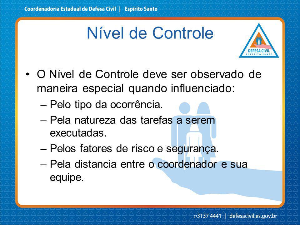 O Nível de Controle deve ser observado de maneira especial quando influenciado: –Pelo tipo da ocorrência. –Pela natureza das tarefas a serem executada