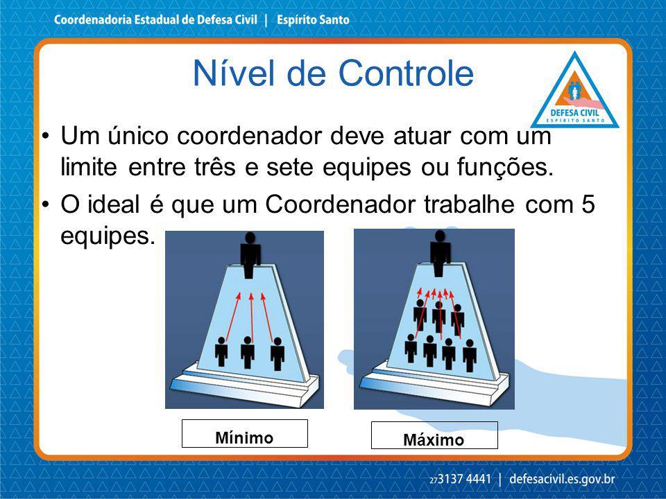 Um único coordenador deve atuar com um limite entre três e sete equipes ou funções. O ideal é que um Coordenador trabalhe com 5 equipes. Nível de Cont