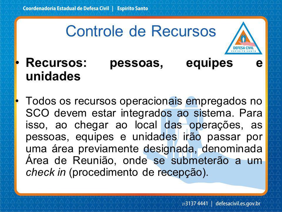 Recursos: pessoas, equipes e unidades Todos os recursos operacionais empregados no SCO devem estar integrados ao sistema. Para isso, ao chegar ao loca