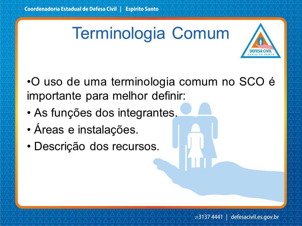 O uso de uma terminologia comum no SCO é importante para melhor definir: As funções dos integrantes. Áreas e instalações. Descrição dos recursos. Term