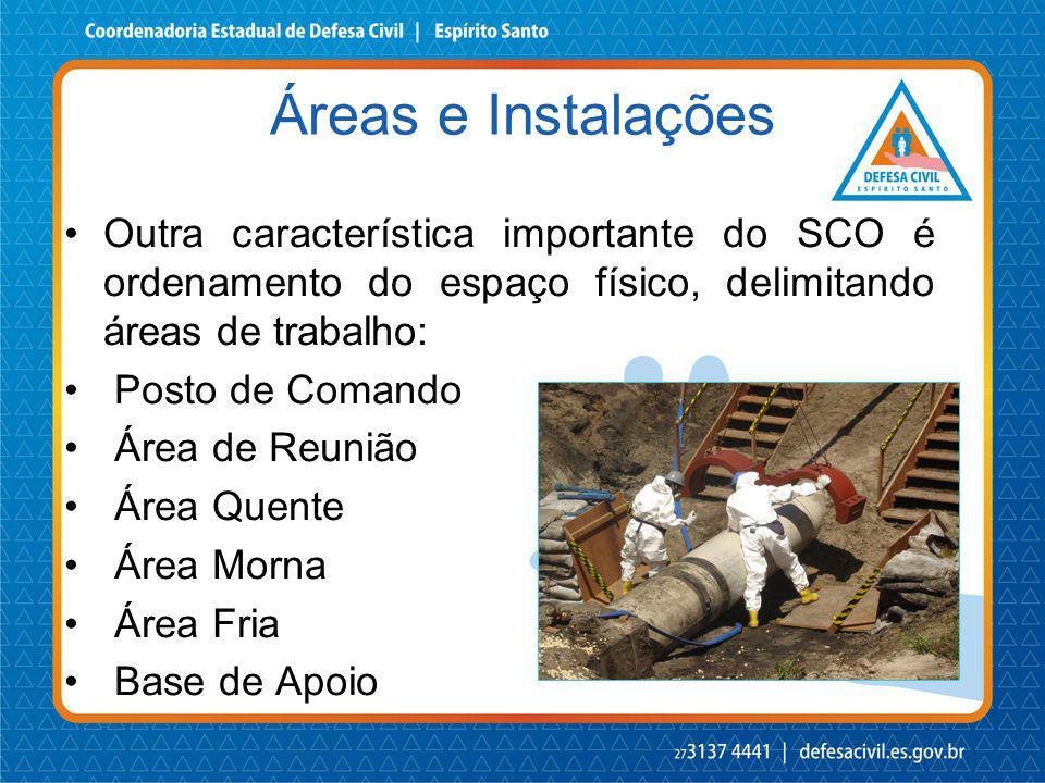 Outra característica importante do SCO é ordenamento do espaço físico, delimitando áreas de trabalho: Posto de Comando Área de Reunião Área Quente Áre