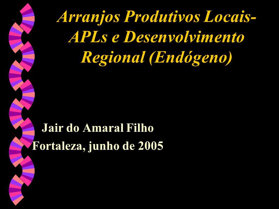 Arranjos Produtivos Locais- APLs e Desenvolvimento Regional (Endógeno) Jair do Amaral Filho Fortaleza, junho de 2005