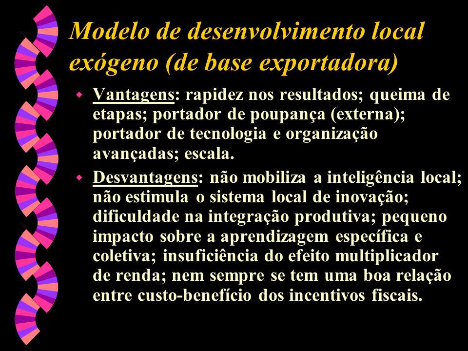 Modelo de desenvolvimento local exógeno (de base exportadora) w Vantagens: rapidez nos resultados; queima de etapas; portador de poupança (externa); p