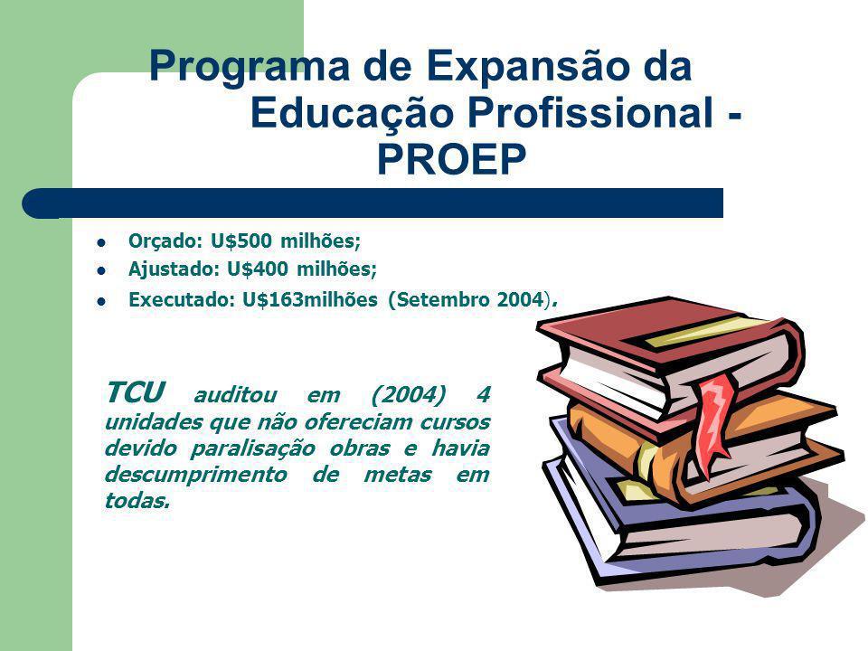 Programa de Expansão da Educação Profissional - PROEP Orçado: U$500 milhões; Ajustado: U$400 milhões; Executado: U$163milhões (Setembro 2004).