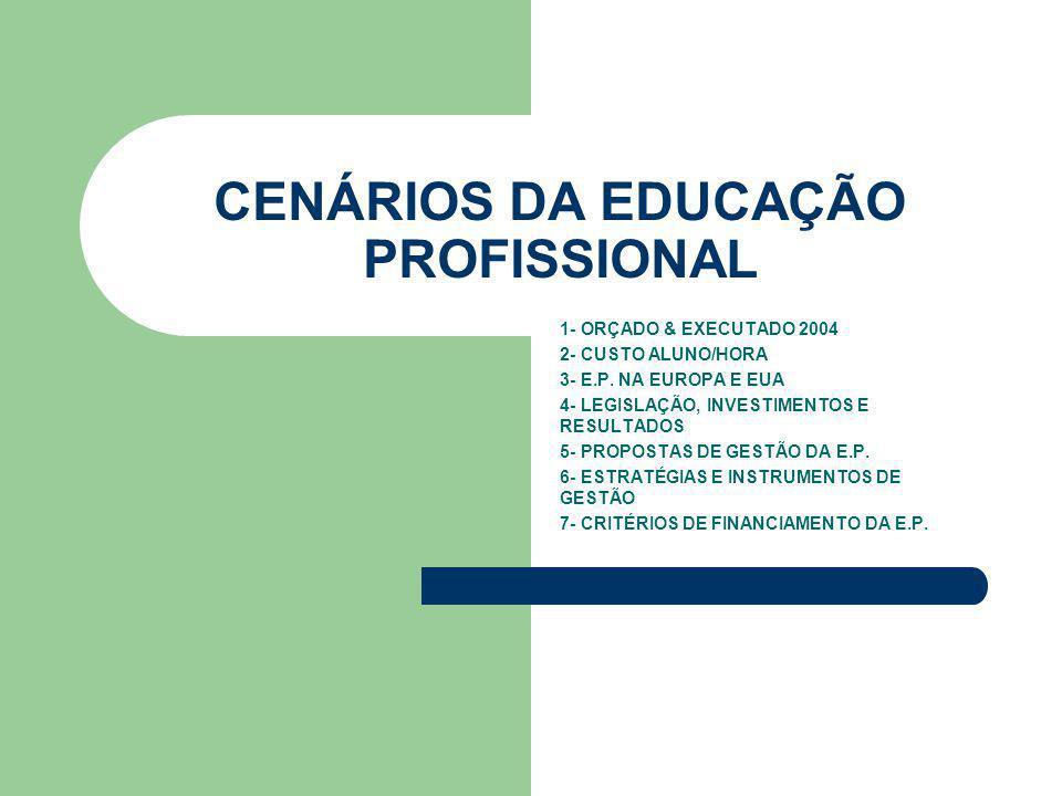 CENÁRIOS DA EDUCAÇÃO PROFISSIONAL 1- ORÇADO & EXECUTADO 2004 2- CUSTO ALUNO/HORA 3- E.P.