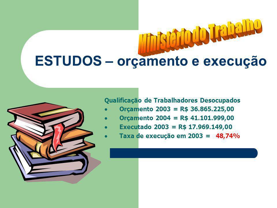 ESTUDOS – orçamento e execução Qualificação de Trabalhadores Desocupados Orçamento 2003 = R$ 36.865.225,00 Orçamento 2004 = R$ 41.101.999,00 Executado 2003 = R$ 17.969.149,00 Taxa de execução em 2003 = 48,74%