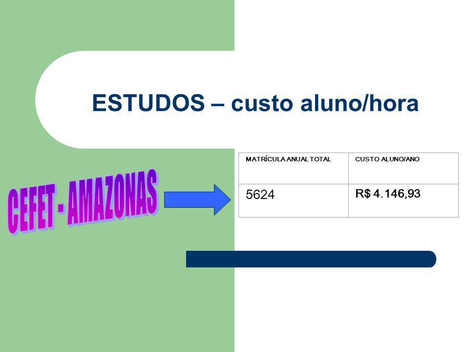ESTUDOS – custo aluno/hora MATRÍCULA ANUAL TOTALCUSTO ALUNO/ANO 5624 R$ 4.146,93
