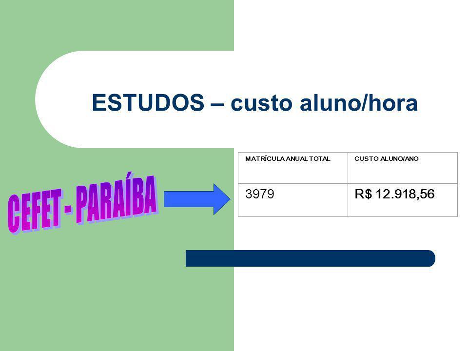 ESTUDOS – custo aluno/hora MATRÍCULA ANUAL TOTALCUSTO ALUNO/ANO 3979R$ 12.918,56