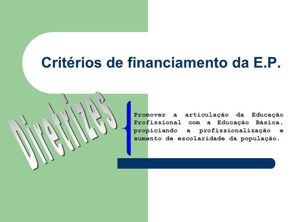 Critérios de financiamento da E.P.