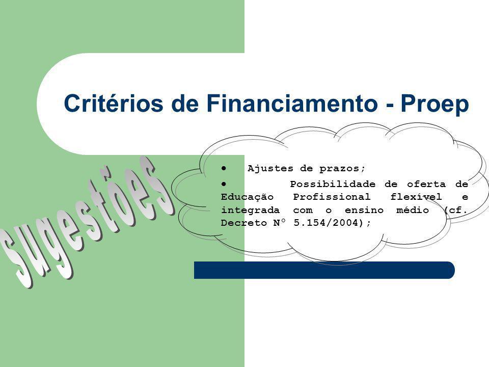 Critérios de Financiamento - Proep Ajustes de prazos; Possibilidade de oferta de Educação Profissional flexível e integrada com o ensino médio (cf.