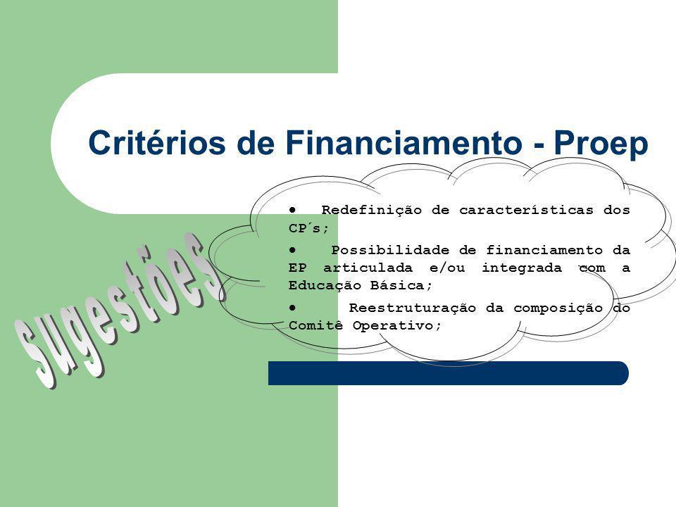 Critérios de Financiamento - Proep Redefinição de características dos CP´s; Possibilidade de financiamento da EP articulada e/ou integrada com a Educação Básica; Reestruturação da composição do Comitê Operativo;