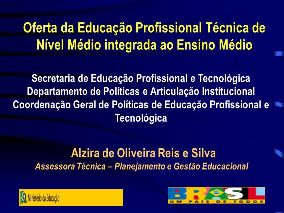 Oferta da Educação Profissional Técnica de Nível Médio integrada ao Ensino Médio Secretaria de Educação Profissional e Tecnológica Departamento de Pol