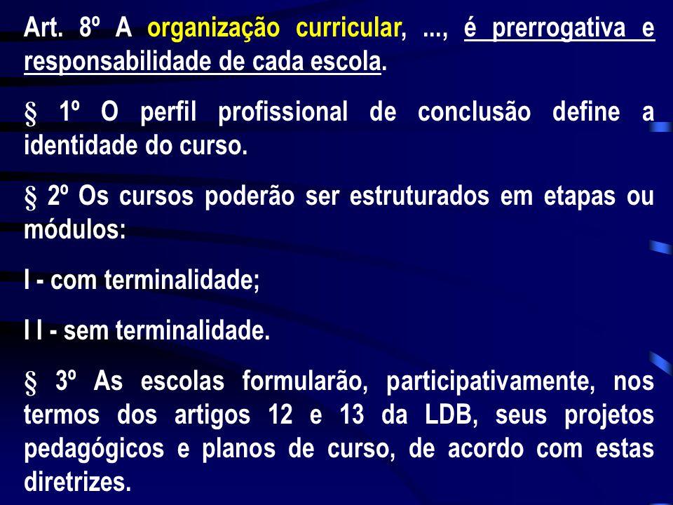 Art. 8º A organização curricular,..., é prerrogativa e responsabilidade de cada escola. § 1º O perfil profissional de conclusão define a identidade do