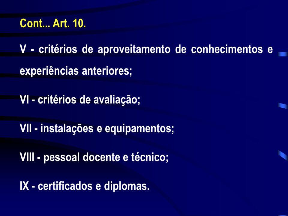 Cont... Art. 10. V - critérios de aproveitamento de conhecimentos e experiências anteriores; VI - critérios de avaliação; VII - instalações e equipame