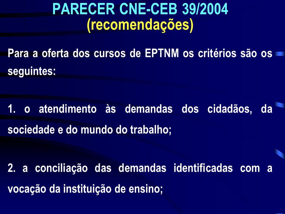 PARECER CNE-CEB 39/2004 (recomendações) Para a oferta dos cursos de EPTNM os critérios são os seguintes: 1. o atendimento às demandas dos cidadãos, da
