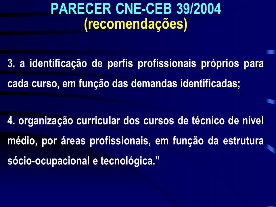 PARECER CNE-CEB 39/2004 (recomendações) 3. a identificação de perfis profissionais próprios para cada curso, em função das demandas identificadas; 4.