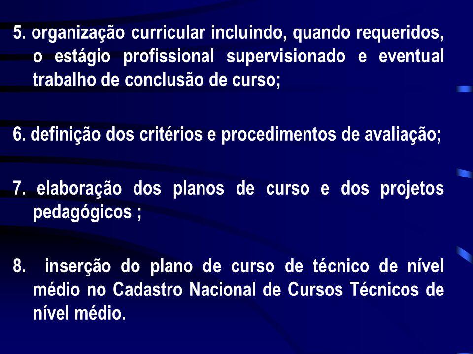 5. organização curricular incluindo, quando requeridos, o estágio profissional supervisionado e eventual trabalho de conclusão de curso; 6. definição