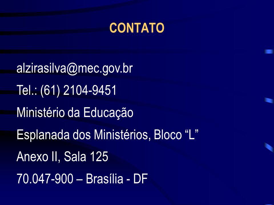 alzirasilva@mec.gov.br Tel.: (61) 2104-9451 Ministério da Educação Esplanada dos Ministérios, Bloco L Anexo II, Sala 125 70.047-900 – Brasília - DF CO