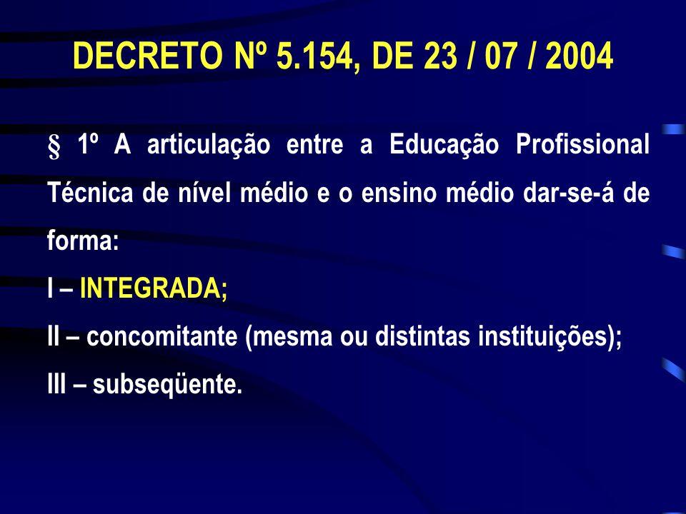 § 1º A articulação entre a Educação Profissional Técnica de nível médio e o ensino médio dar-se-á de forma: I – INTEGRADA; II – concomitante (mesma ou