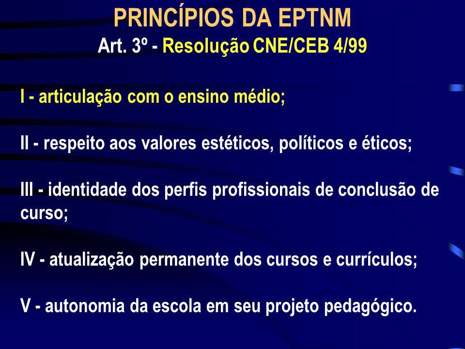 I - articulação com o ensino médio; II - respeito aos valores estéticos, políticos e éticos; III - identidade dos perfis profissionais de conclusão de