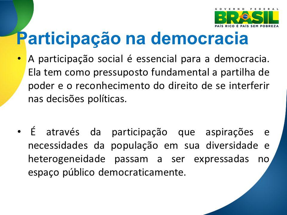 Participação na democracia A participação social é essencial para a democracia. Ela tem como pressuposto fundamental a partilha de poder e o reconheci