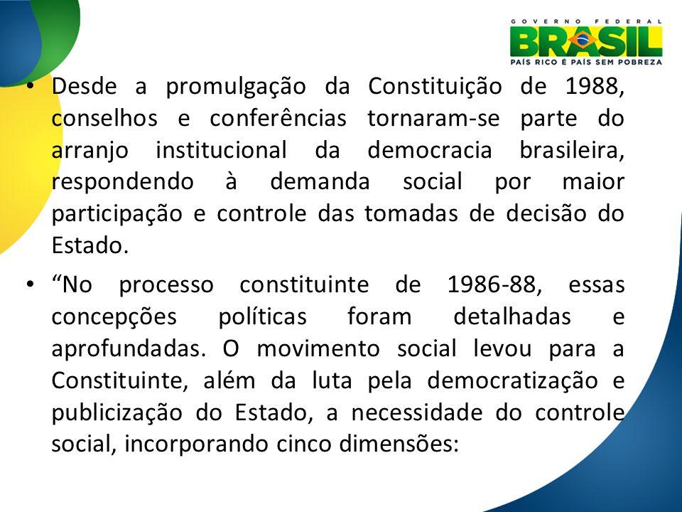 Desde a promulgação da Constituição de 1988, conselhos e conferências tornaram-se parte do arranjo institucional da democracia brasileira, respondendo