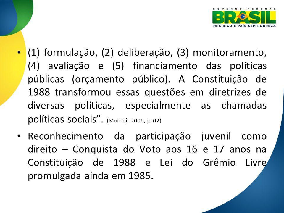 (1) formulação, (2) deliberação, (3) monitoramento, (4) avaliação e (5) financiamento das políticas públicas (orçamento público). A Constituição de 19