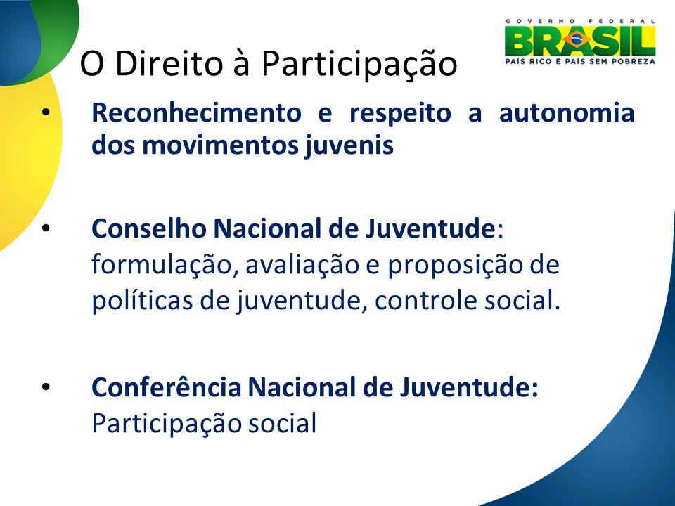 O Direito à Participação Reconhecimento e respeito a autonomia dos movimentos juvenis : Conselho Nacional de Juventude: formulação, avaliação e propos