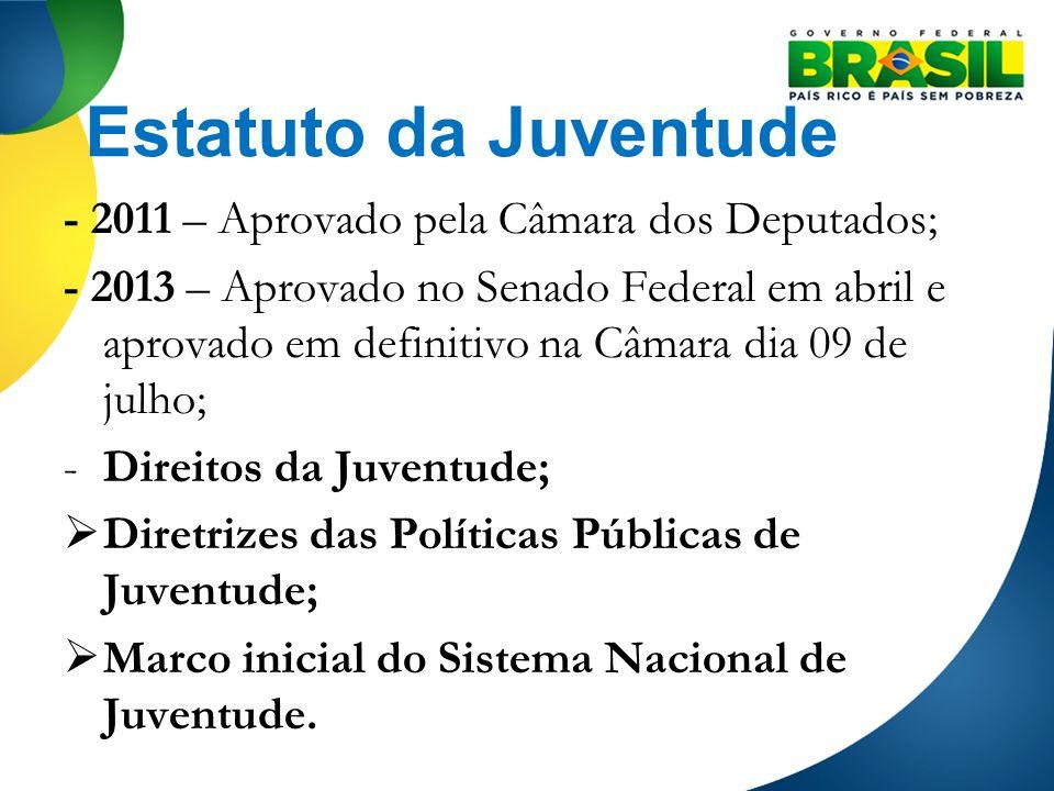 Estatuto da Juventude - 2011 – Aprovado pela Câmara dos Deputados; - 2013 – Aprovado no Senado Federal em abril e aprovado em definitivo na Câmara dia