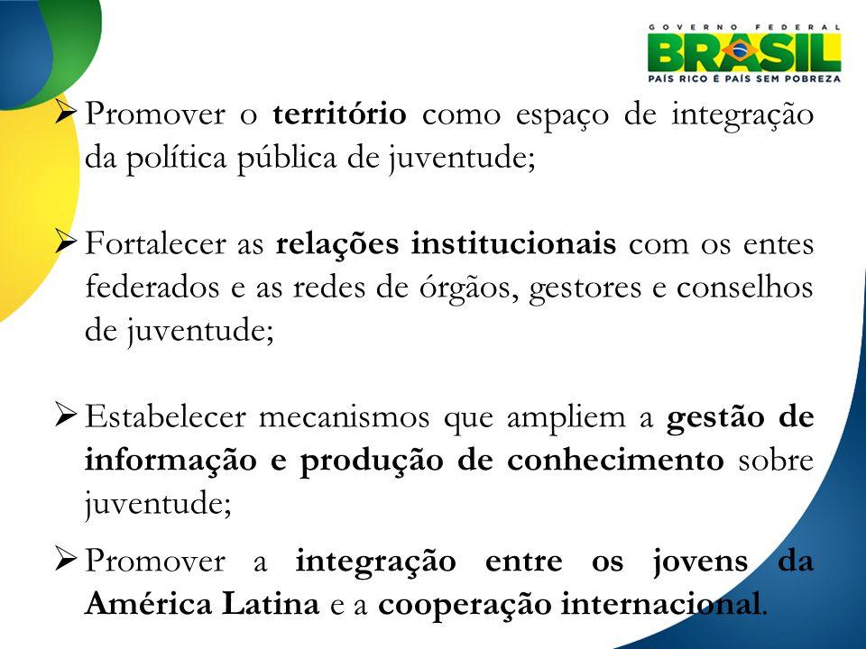 Promover o território como espaço de integração da política pública de juventude; Fortalecer as relações institucionais com os entes federados e as re