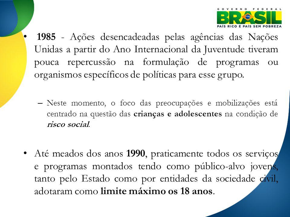 1985 - Ações desencadeadas pelas agências das Nações Unidas a partir do Ano Internacional da Juventude tiveram pouca repercussão na formulação de prog