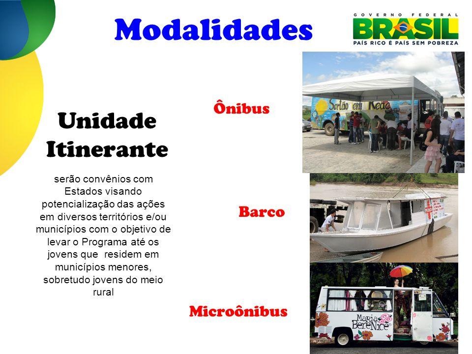Modalidades Barco Microônibus Unidade Itinerante serão convênios com Estados visando potencialização das ações em diversos territórios e/ou municípios