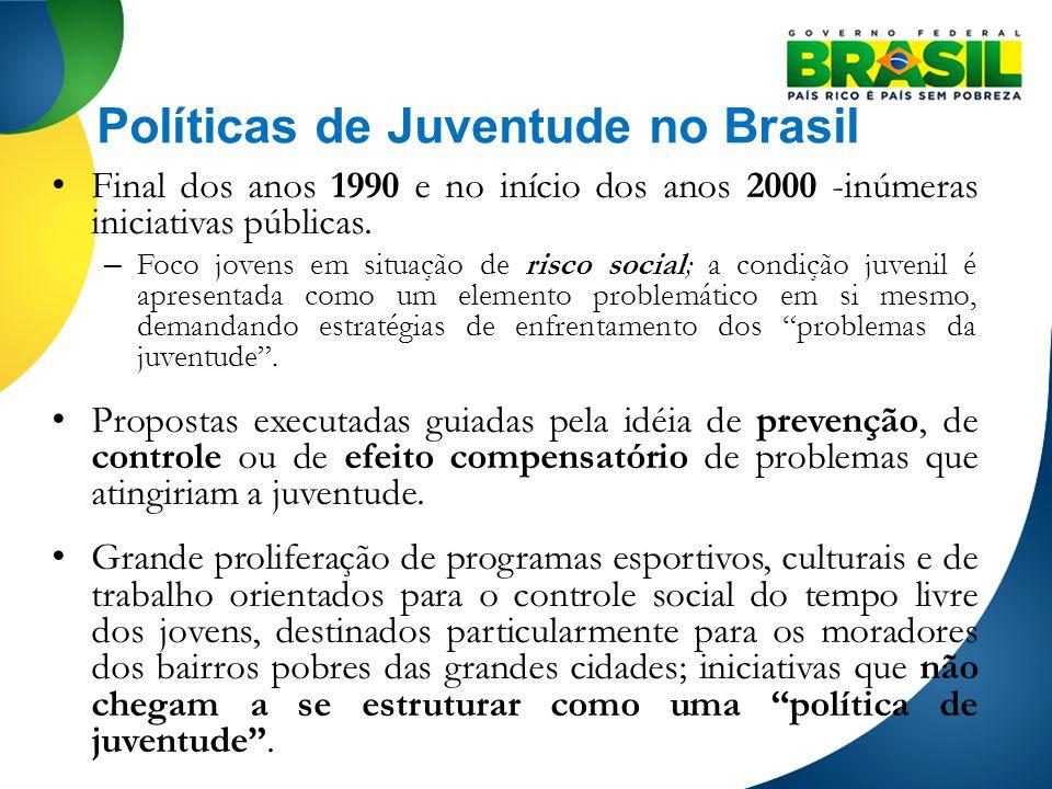 Políticas de Juventude no Brasil Final dos anos 1990 e no início dos anos 2000 -inúmeras iniciativas públicas. – Foco jovens em situação de risco soci