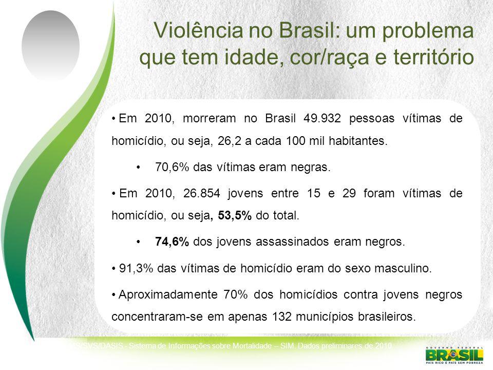 Violência no Brasil: um problema que tem idade, cor/raça e território Em 2010, morreram no Brasil 49.932 pessoas vítimas de homicídio, ou seja, 26,2 a