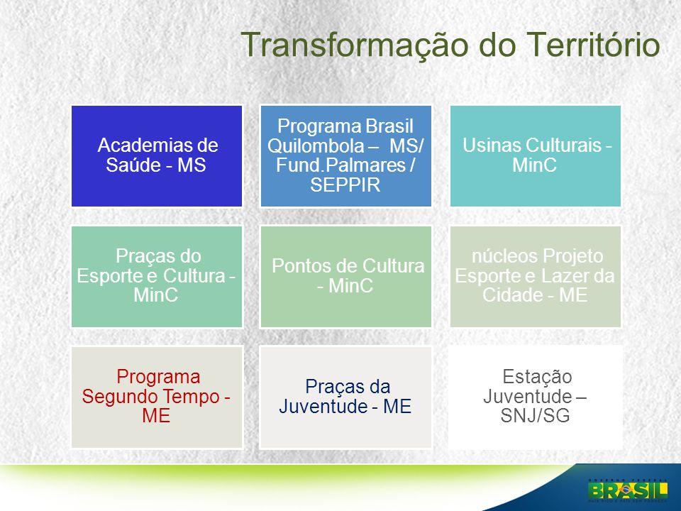 Transformação do Território Academias de Saúde - MS Programa Brasil Quilombola – MS/ Fund.Palmares / SEPPIR Usinas Culturais - MinC Praças do Esporte