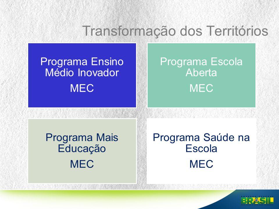 Transformação dos Territórios Programa Ensino Médio Inovador MEC Programa Escola Aberta MEC Programa Mais Educação MEC Programa Saúde na Escola MEC