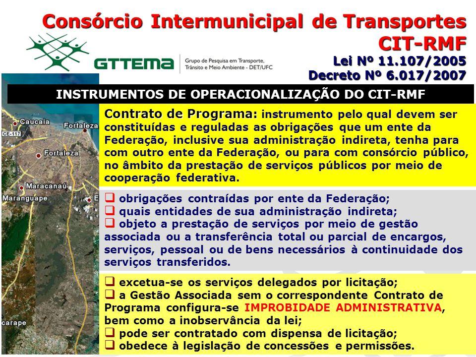 Consórcio Intermunicipal de Transportes CIT-RMF Lei Nº 11.107/2005 Decreto Nº 6.017/2007 INSTRUMENTOS DE OPERACIONALIZAÇÃO DO CIT-RMF Contrato de Prog