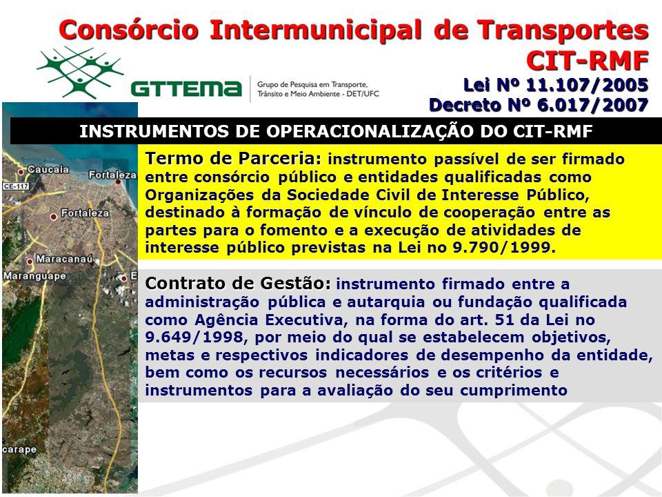 Consórcio Intermunicipal de Transportes CIT-RMF Lei Nº 11.107/2005 Decreto Nº 6.017/2007 INSTRUMENTOS DE OPERACIONALIZAÇÃO DO CIT-RMF Termo de Parceri