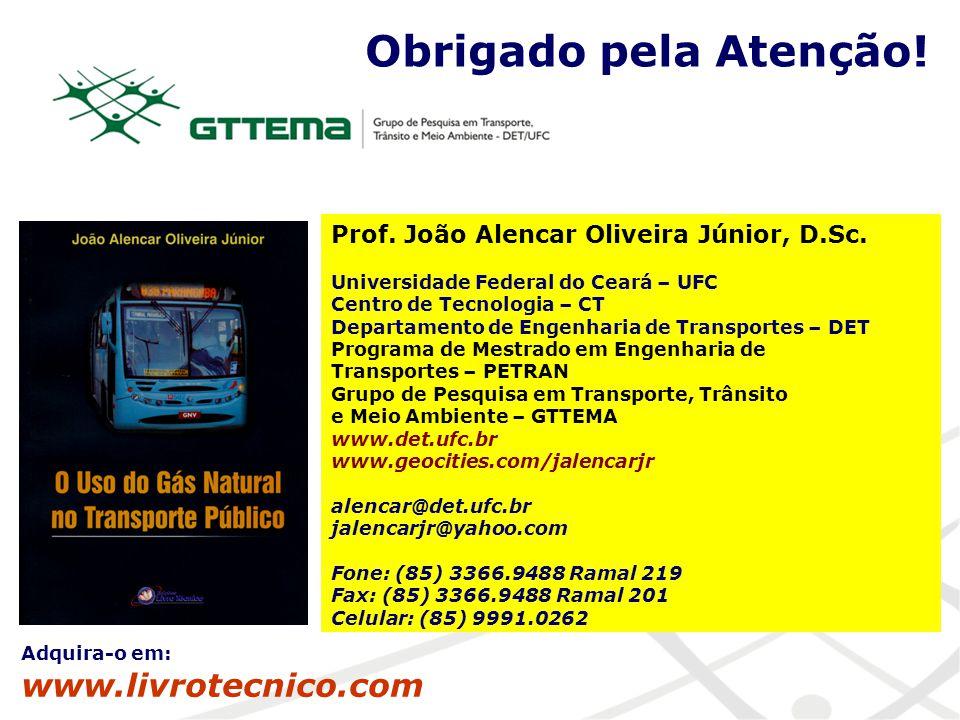 Obrigado pela Atenção! Prof. João Alencar Oliveira Júnior, D.Sc. Universidade Federal do Ceará – UFC Centro de Tecnologia – CT Departamento de Engenha